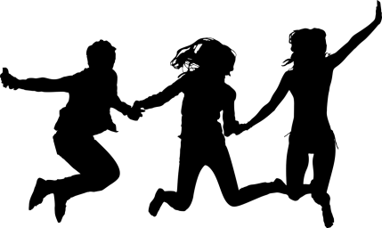 Silhouette of kids jumping