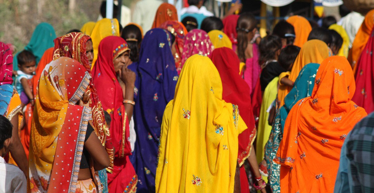 India wedding women in traditional clothing colorful