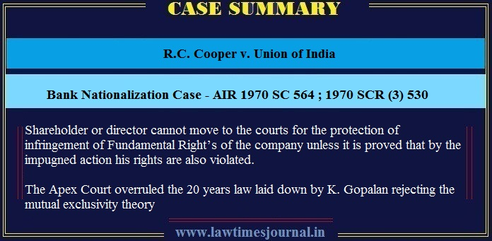 R C  Cooper v  Union of India - Bank Nationalization Case