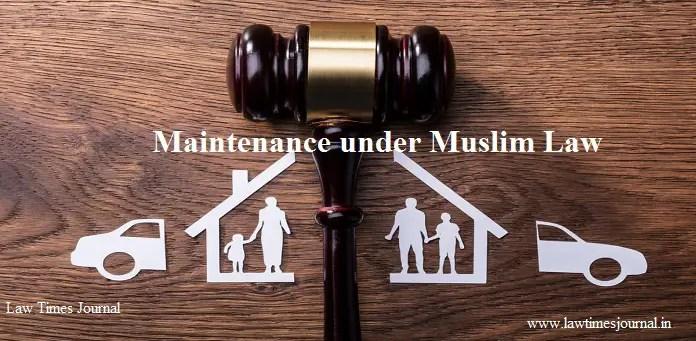 Maintenance under Muslim Law