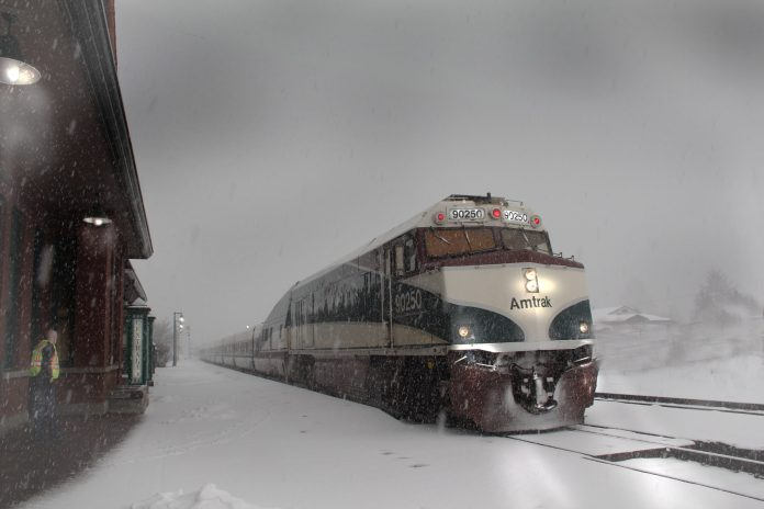 An Amtrak train at a station