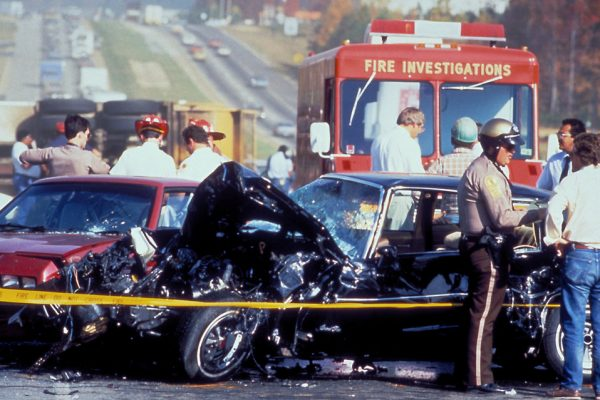 Accident Scene with First Responders After An Accident