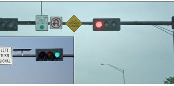 Traffic signals at an intersection