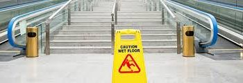 Caution sign on walkway