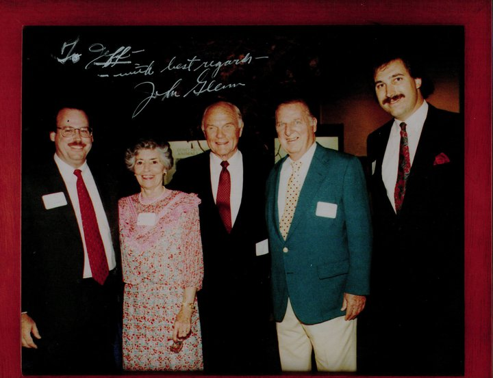 Signed photo of Jeff Standing with Astronaut and Former U.S. Senator John Glenn, his wife, and Jeff's late father