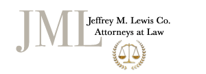 Logo: Jeffrey M. Lewis Co. LPA in text over the scales of justice and initials JML