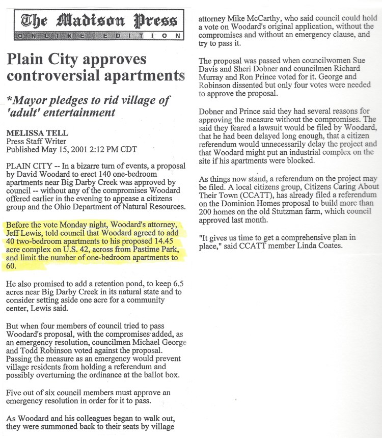 Newspaper Article Discussing Case: From the Madison Press, Plain City approves controversial apartments, Mayor Pledges to rid village of 'adult' entertainment. By Melissa Tell.