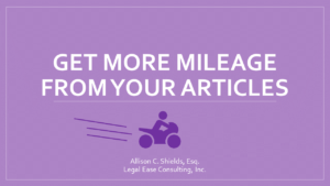 Get more mileage from your articles