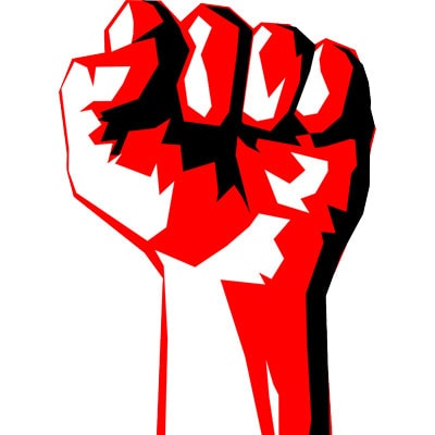 Fist to symbolize the authoritarian nature of Martial Law.