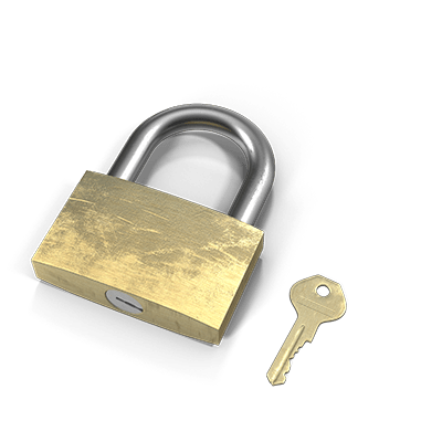 Padlock and keys to denote inheritance of an estate.