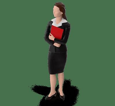 A businesswoman, signifying an employee.