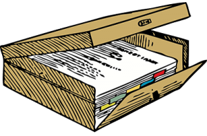 Files as an example of evidence that is needed.