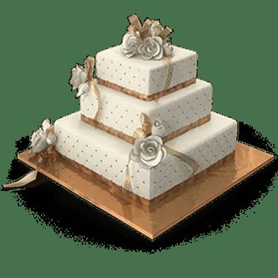 Wedding cake to symbolize marriage.
