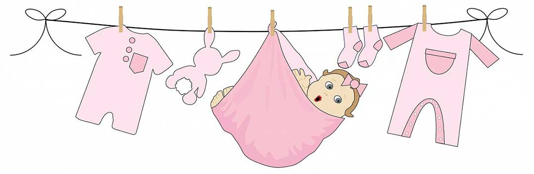 A picture of a baby in a bundle on a clothesline. Children who are gained through adopted are direct compulsory heirs.