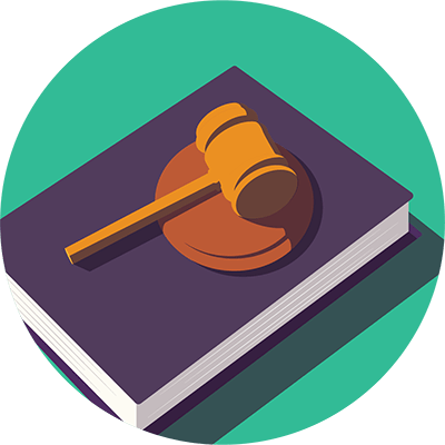 A gavel on a law book symbolizing court