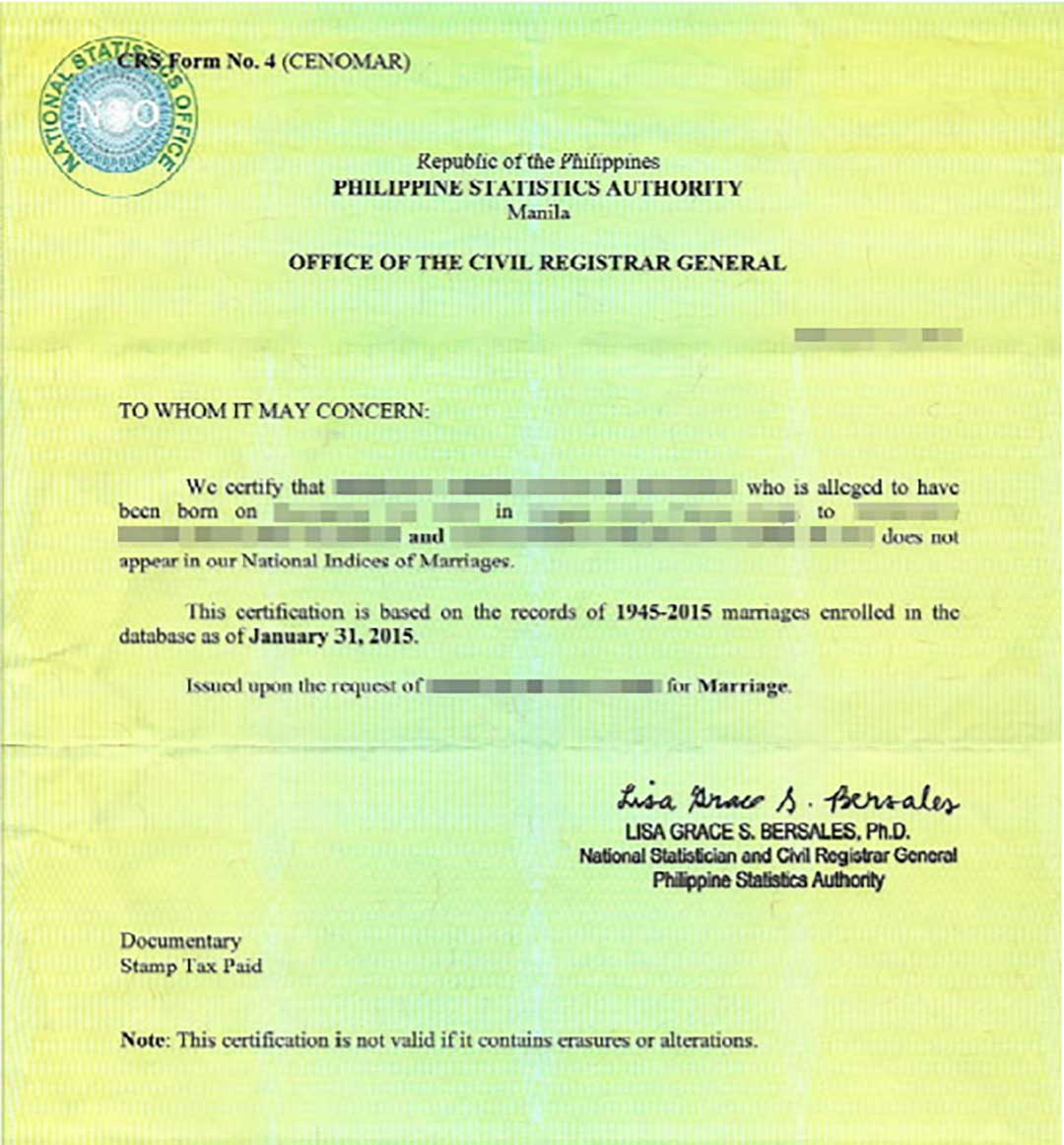 Philippine Certificate Of No Marriage