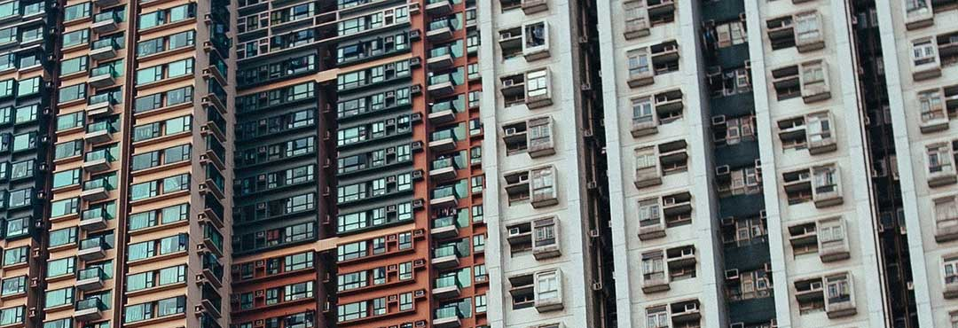 Windows of a condominium building, as foreigners can own up to 40% of a building.