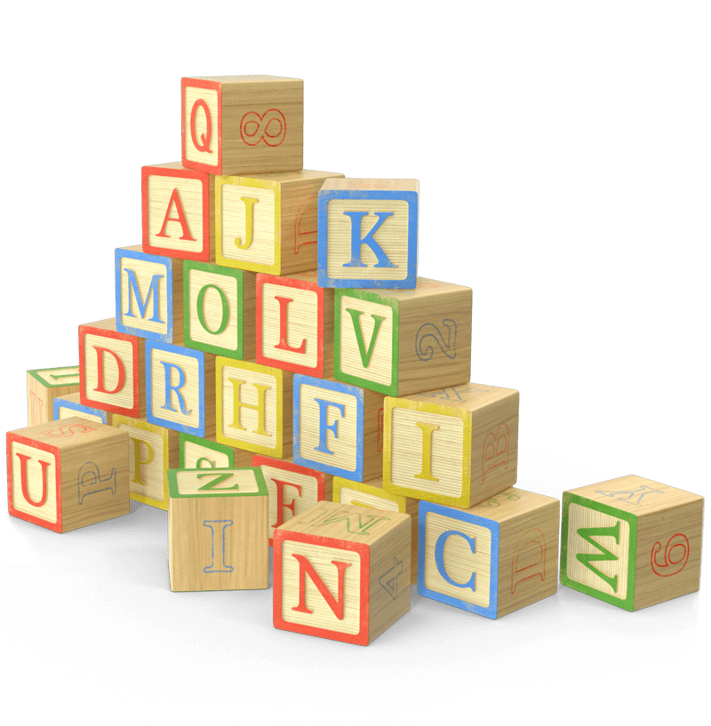 Baby building blocks featuring the alphabet piled up.