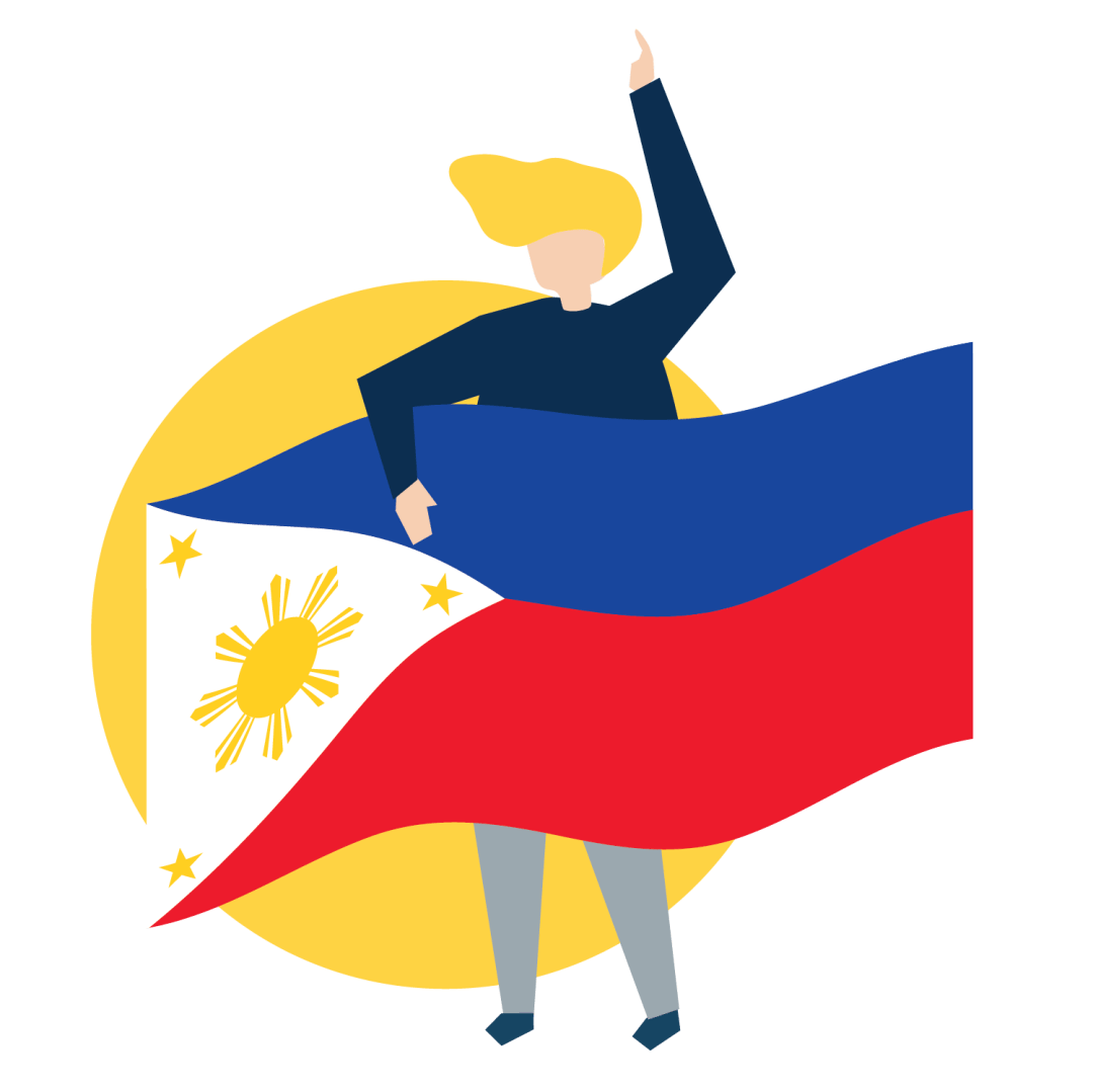 A woman with a Philippine flag.