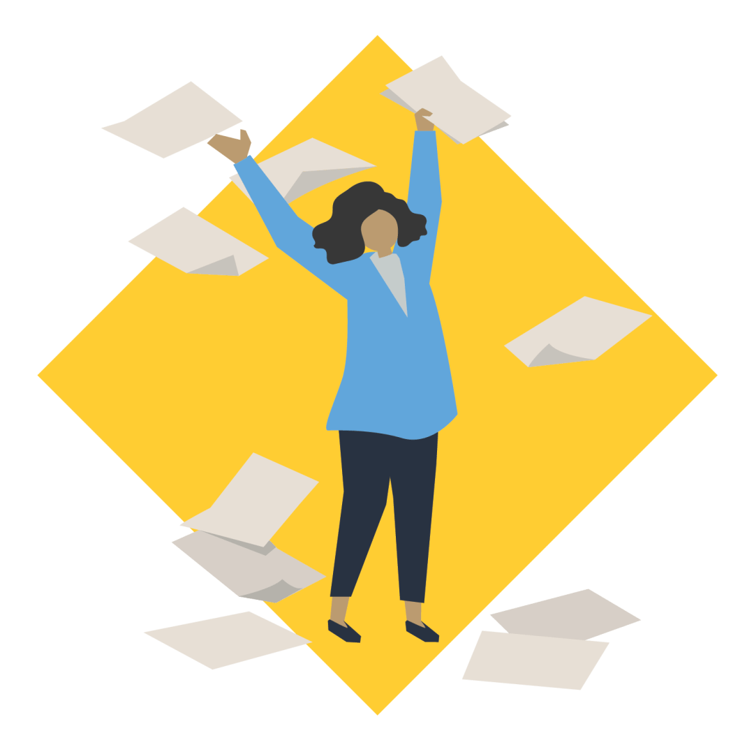 A women with several documents floating around her to indicate that a lot of paperwork is needed.