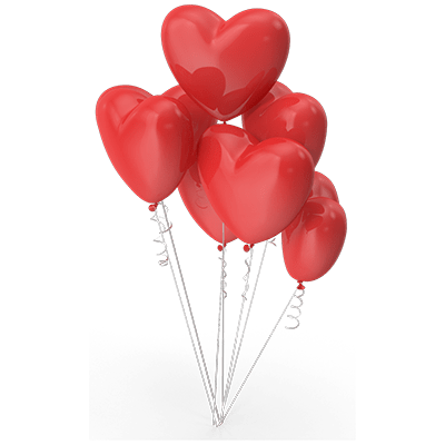 Heart shaped balloons to symbolize marriage.