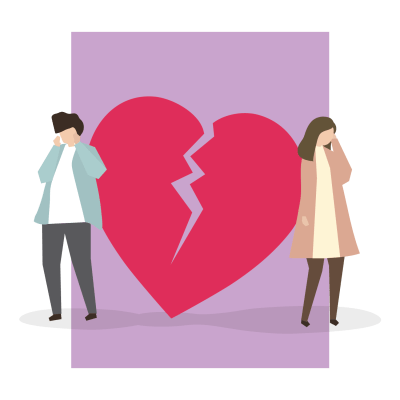 A broken heart flanked by an unhappy couple in a broken marriage.
