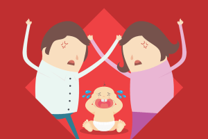An angry couple fighting amidst the tears of a crying baby.