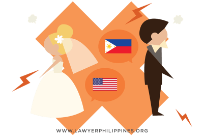 A large x between a groom and a bride with flags identifying their nationalities to show the end of a marriage.