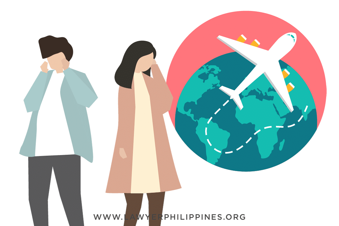 A man and a woman facing away from each other with a globe and an airplane behind them,