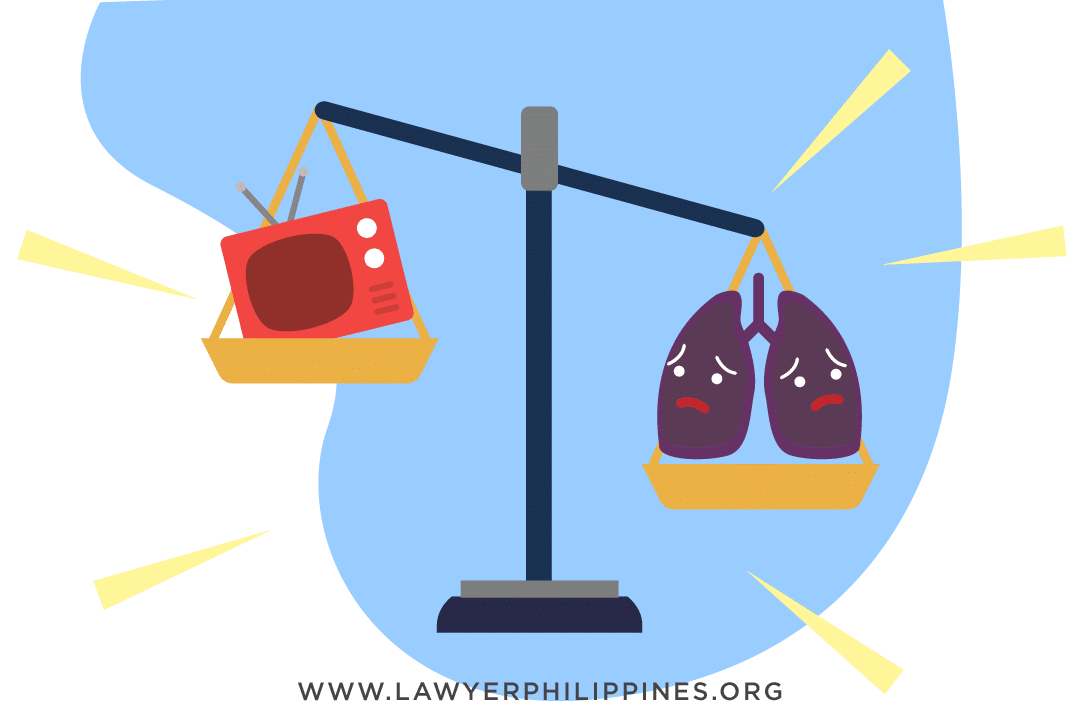 A picture showing a balance between a television representing commercial business and lungs to represent health, with the balance tilting in favor of health.