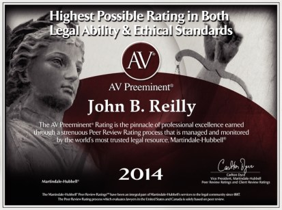 John Reilly & Associates - Legal Strike Force - Martindale-Hubbell AV Preeminent Award 2014