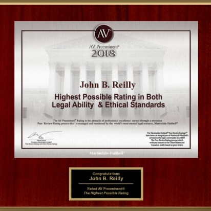John Reilly & Associates - Legal Strike Force - Martindale-Hubbell AV Preeminent Award 2018