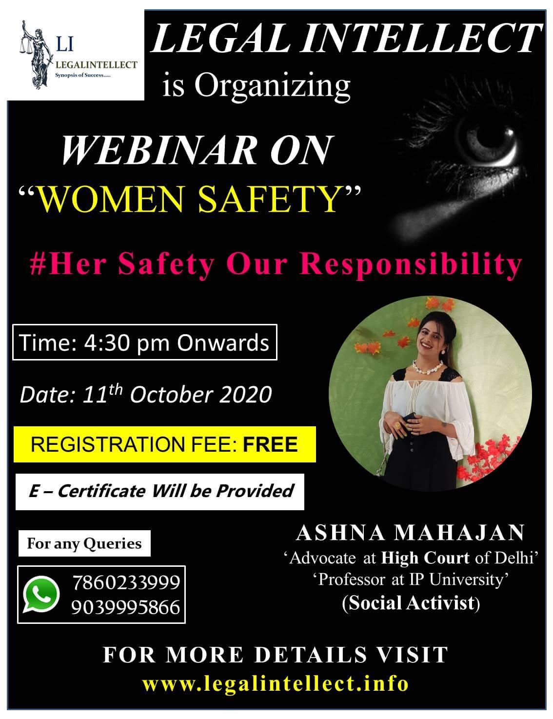 Webinar on WOMEN SAFETY