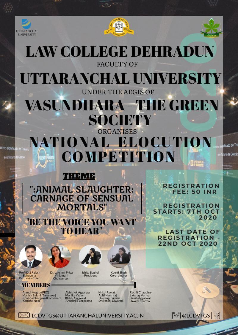 Uttaranchal university National Elocution Competition