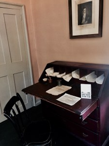 Attorney John McClellan's desk on display at Old Sturbridge Village, Mass. McClellan practiced law in the late 1700s and 1800s. Photo credit: L. Tripoli