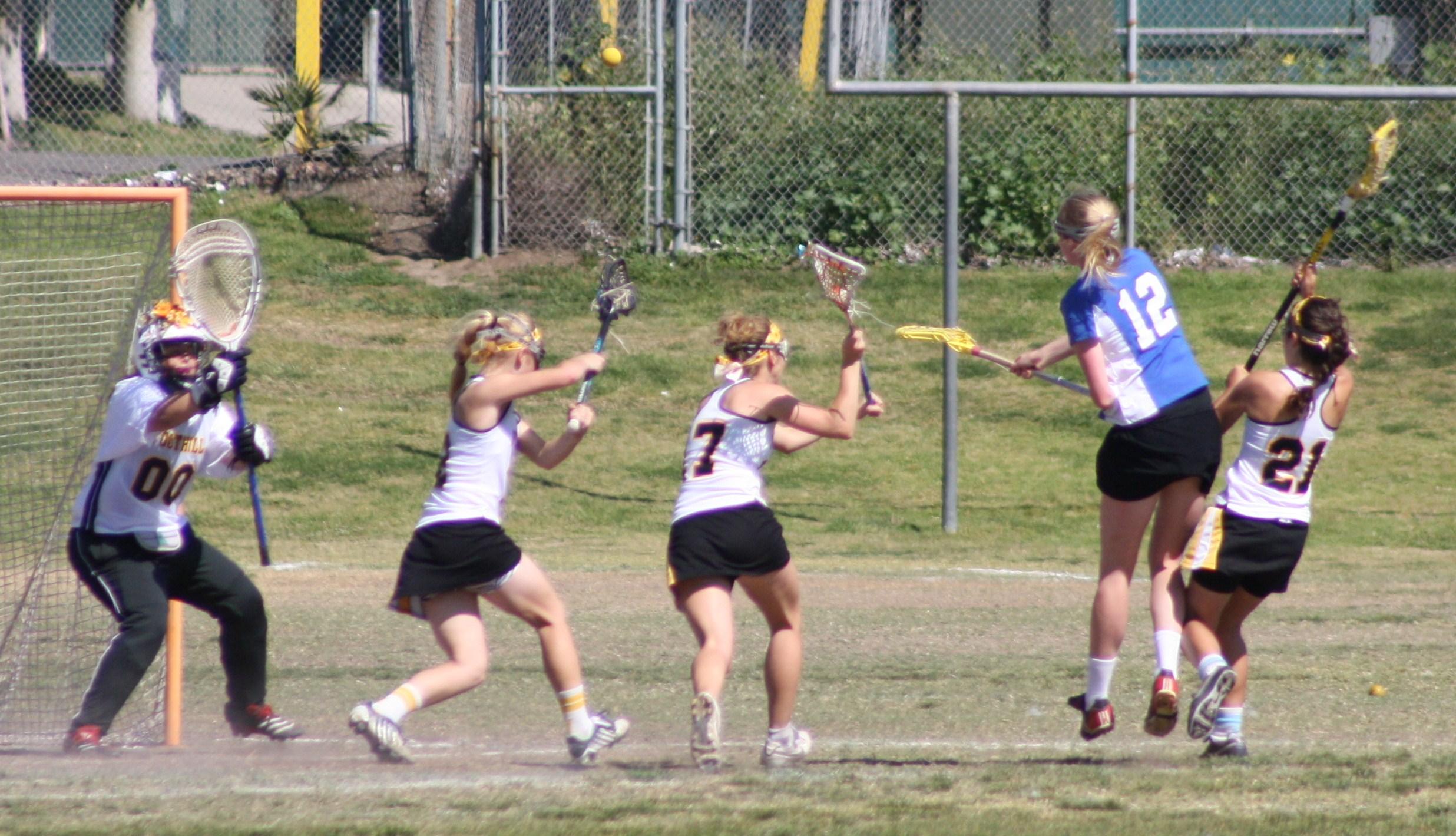 Cate School Varsity Girls Lacrosse kept the pressure on Foothill all game.