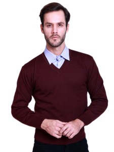 Basic V-Neck Sweater Maroon