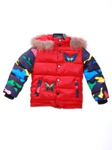 Butterfly Jacket Parasut Fur Collar Kids Red