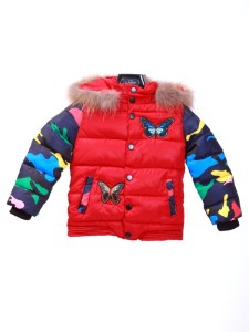 Butterfly Jacket Parasut Fur Collar Kids Red