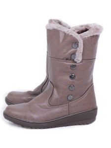 Unisex Leather Boots With Fur