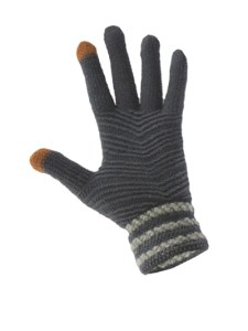 Simple Wool Gloves Three Stripe - Light Grey