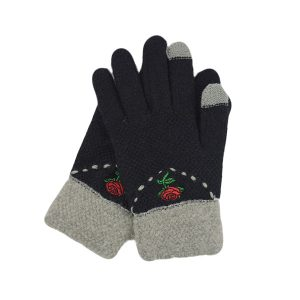 Women Flower Knit Gloves - BLACK