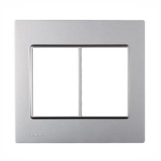 """Placa Alumínio Metálico (6 módulos) 4"""" x 4"""" - Delta Mondo (5TG9 862-1PA02) - SIEMENS"""