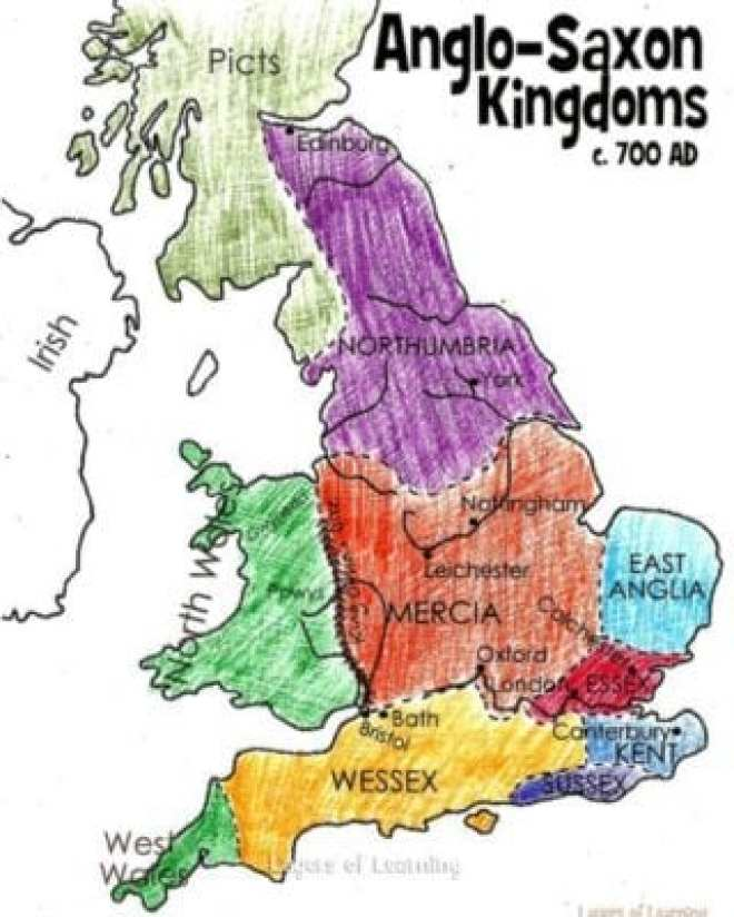 Map of early Anglo Saxon kingdoms in England. This is just before King Alfred.