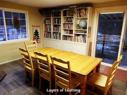 Michelle's schoolroom with bookshelves