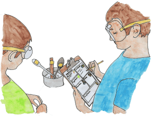 watercolor of boys doing heat conduction experiment