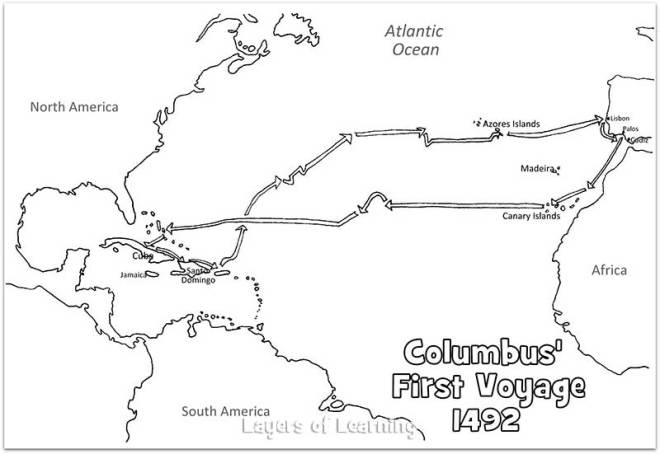 Map of Columbus's first voyage