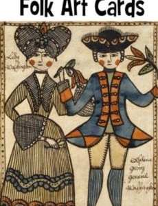 American Colonial Folk Art Cards