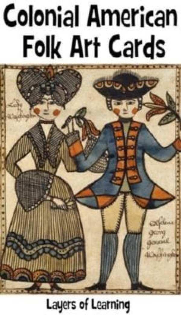 colonial folk art cards