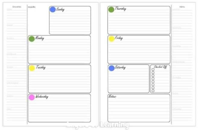 Weekly Calendar Pages Layers of Learning